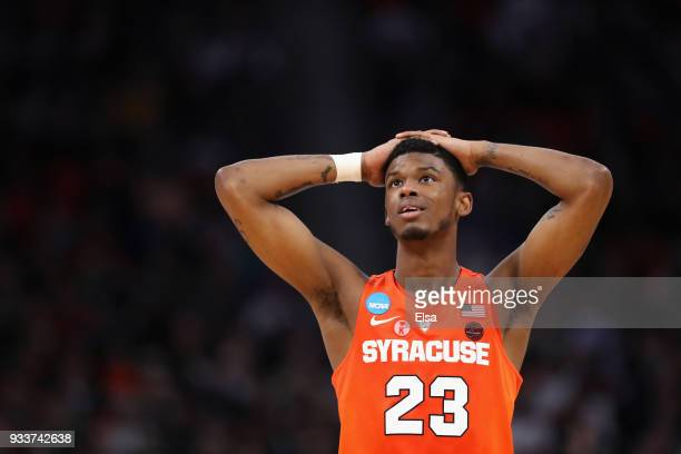 Frank Howard of the Syracuse Orange reacts after being called for a foul during the second half against the Michigan State Spartans in the second...