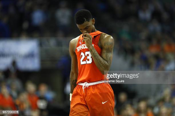 Frank Howard of the Syracuse Orange reacts after being defeated by the Duke Blue Devils in the 2018 NCAA Men's Basketball Tournament Midwest Regional...