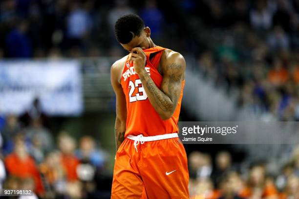 Frank Howard of the Syracuse Orange reacts as his team loses to the Duke Blue Devils in the 2018 NCAA Men's Basketball Tournament Midwest Regional at...