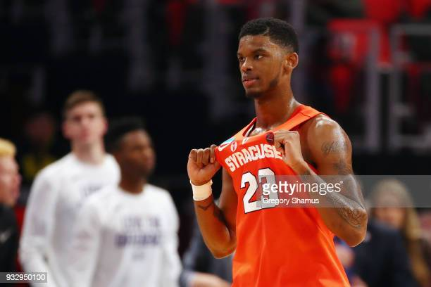 Frank Howard of the Syracuse Orange reacts during the second half against the TCU Horned Frogs in the first round of the 2018 NCAA Men's Basketball...