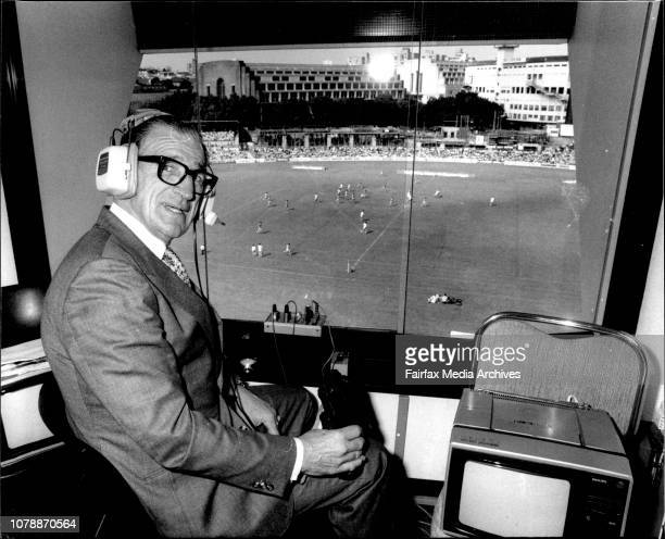 Frank Hyde in the 2SM box at the SCG for today's rugby league final between Canterbury and Parramatta September 18 1983