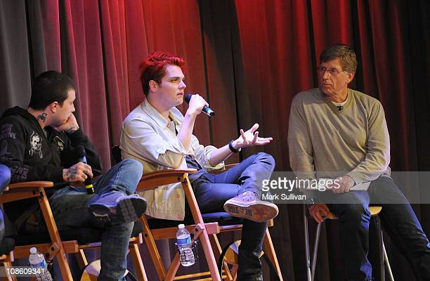 Frank Iero and Gerard Way of My Chemical Romance speak with GRAMMY Museum executive director Robert Santelli during American Express Presents My...