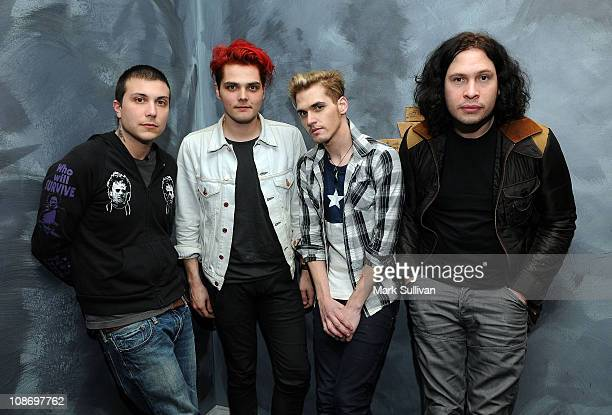 Frank Iero Gerard Way Mikey Way and Ray Toro of My Chemical Romance pose after American Express Presents My Chemical Romance at The GRAMMY Museum on...