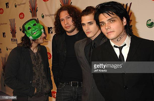Frank Iero Ray Toro Mikey Way and Gerard Way of My Chemical Romance attend the 2007 MTV Europe Music Awards held at the Olympiahalle on November 1...