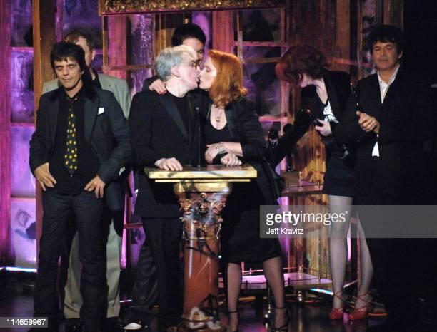 Frank Infante Nigel Harrison Chris Stein Debbie Harry and Clem Burke of Blondie inductees with presenter Shirley Manson