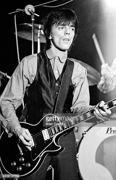 Frank Infante of Blondie playing guitar during the recording of a pop promo for their single 'Picture This' at Isleworth Studios Isleworth London on...