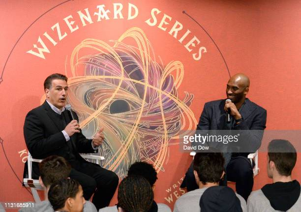 Frank Isola and Kobe Bryant discuss the launch of Granity Studios' debut book The Wizenard Series Training Camp to young athletes at the flagship NBA...