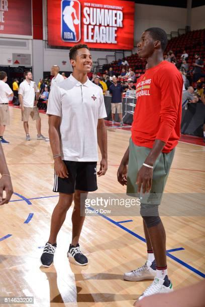Frank Jackson and Cheik Diallo of the New Orleans Pelicans are seen before the game against the Denver Nuggets during the 2017 Summer League on July...