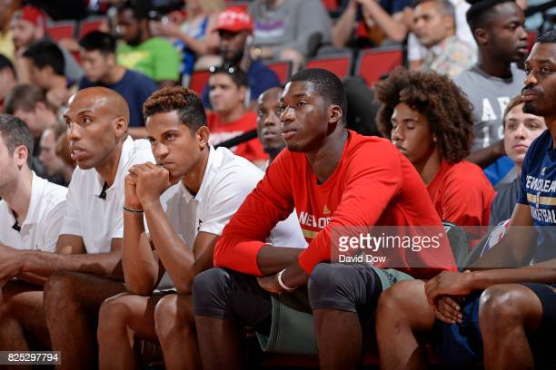 Frank Jackson and Cheik Diallo of the New Orleans Pelicans look on during the 2017 Summer League game against the Denver Nuggets on July 14 2017 at...