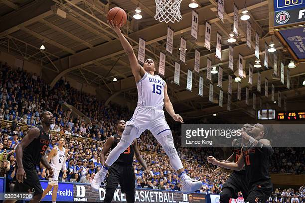 Frank Jackson of the Duke Blue Devils goes to the basket against the Miami Hurricanes at Cameron Indoor Stadium on January 21 2017 in Durham North...