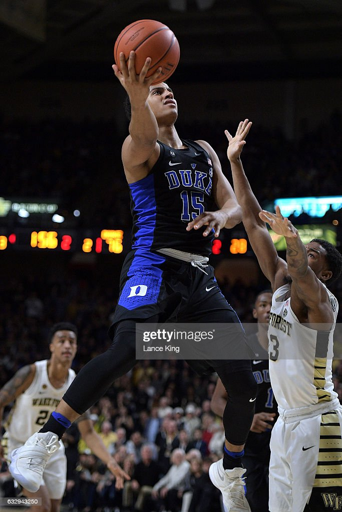Frank Jackson #15 of the Duke Blue Devils puts up a shot against Bryant Crawford #13 of the Wake Forest Demon Deacons at LJVM Coliseum Complex on January 28, 2017 in Winston-Salem, North Carolina. Duke won 85-83.