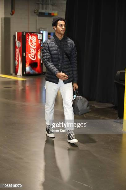 Frank Jackson of the New Orleans Pelicans arrives to the arena prior to the game against the Charlotte Hornets on December 2 2018 at Spectrum Center...