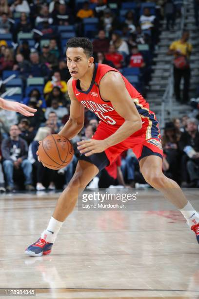 Frank Jackson of the New Orleans Pelicans dribbles the ball during the game against the Utah Jazz on March 6 2019 at the Smoothie King Center in New...
