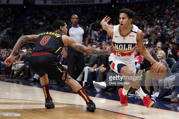 Frank Jackson of the New Orleans Pelicans drives the ball around Jordan Clarkson of the Cleveland Cavaliers at Smoothie King Center on January 09...