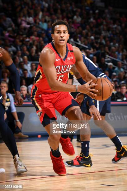 Frank Jackson of the New Orleans Pelicans drives to the basket against the Denver Nuggets on October 29 2018 at the Pepsi Center in Denver Colorado...