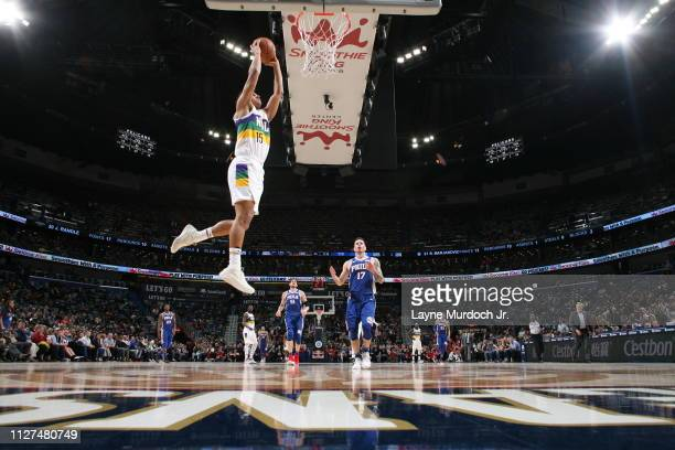 Frank Jackson of the New Orleans Pelicans dunks the ball against the Philadelphia 76ers on February 25 2019 at the Smoothie King Center in New...