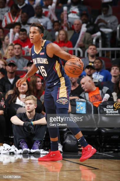 Frank Jackson of the New Orleans Pelicans handles the ball against the New Orleans Pelicans during a preseason game on September 30 2018 at the...