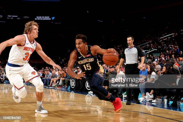 Frank Jackson of the New Orleans Pelicans handles the ball against the New York Knicks during a preseason game on October 5 2018 at Madison Square...