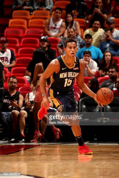 Frank Jackson of the New Orleans Pelicans handles the ball against the Miami Heat during a preseason game on October 10 2018 at American Airlines...