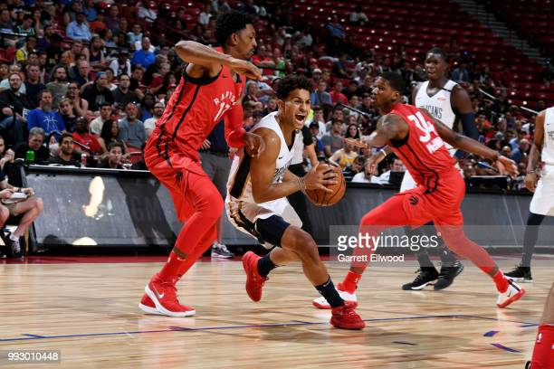 Frank Jackson of the New Orleans Pelicans handles the ball against Toronto Raptors during the 2018 Las Vegas Summer League on July 6 2018 at the...