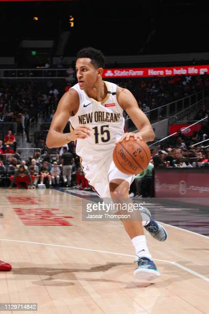 Frank Jackson of the New Orleans Pelicans handles the ball during the game against the Atlanta Hawks on March 10 2019 at State Farm Arena in Atlanta...