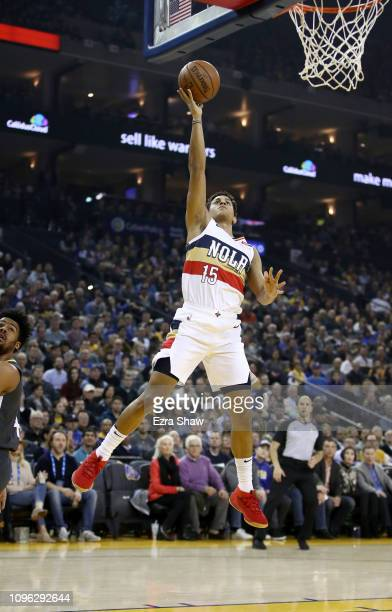Frank Jackson of the New Orleans Pelicans in action against the Golden State Warriors at ORACLE Arena on January 16 2019 in Oakland California NOTE...