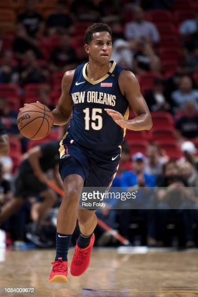 Frank Jackson of the New Orleans Pelicans in action during the game against the Miami Heat at American Airlines Arena on October 10 2018 in Miami...