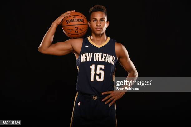 Frank Jackson of the New Orleans Pelicans poses for a photo during the 2017 NBA Rookie Photo Shoot at MSG training center on August 11 2017 in...