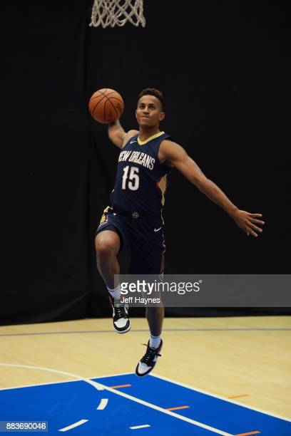 Frank Jackson of the New Orleans Pelicans poses for a photo during the 2017 NBA Rookie Shoot on August 11 2017 at the Madison Square Garden Training...