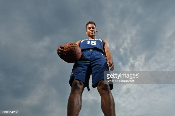 Frank Jackson of the New Orleans Pelicans poses for a portrait during the 2017 NBA rookie photo shoot on August 11 2017 at the Madison Square Garden...