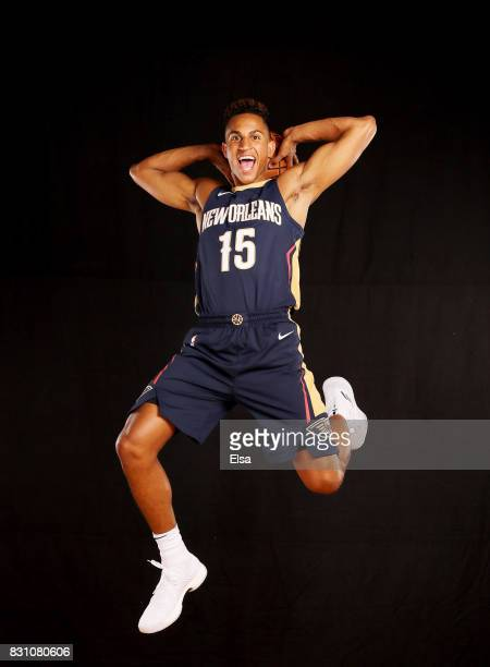 Frank Jackson of the New Orleans Pelicans poses for a portrait during the 2017 NBA Rookie Photo Shoot at MSG Training Center on August 11 2017 in...