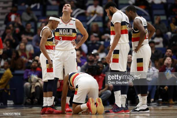 Frank Jackson of the New Orleans Pelicans reacts after a hard foul during the game against the Cleveland Cavaliers at Smoothie King Center on January...