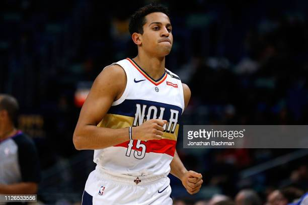Frank Jackson of the New Orleans Pelicans reacts during a game against the Denver Nuggets at the Smoothie King Center on January 30 2019 in New...