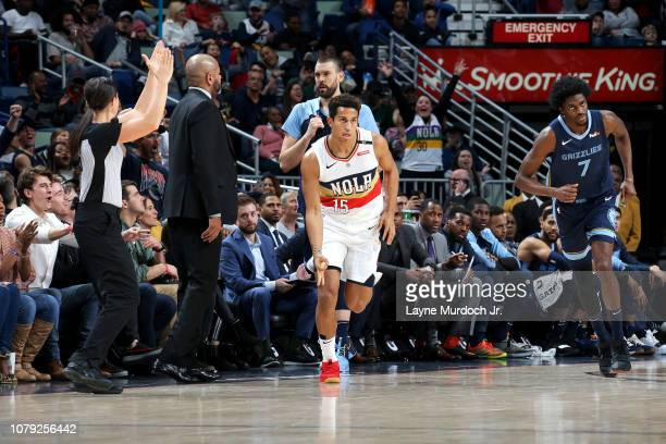 Frank Jackson of the New Orleans Pelicans reacts to scoring a 3pointer against the Memphis Grizzlies on January 7 2019 at the Smoothie King Center in...