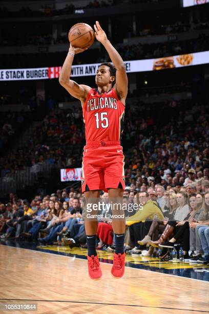 Frank Jackson of the New Orleans Pelicans shoots the ball against the Denver Nuggets on October 29 2018 at the Pepsi Center in Denver Colorado NOTE...