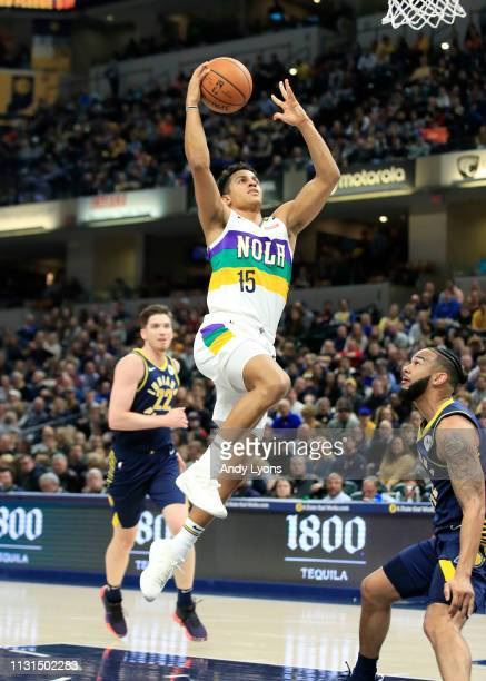 Frank Jackson of the New Orleans Pelicans shoots the ball against the Indiana Pacers at Bankers Life Fieldhouse on February 22 2019 in Indianapolis...