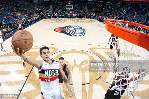 Frank Jackson of the New Orleans Pelicans shoots the ball against the Houston Rockets on March 24 2019 at the Smoothie King Center in New Orleans...