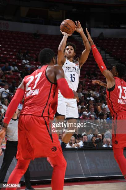 Frank Jackson of the New Orleans Pelicans shoots the ball against the Toronto Raptors during the 2018 Las Vegas Summer League on July 6 2018 at the...