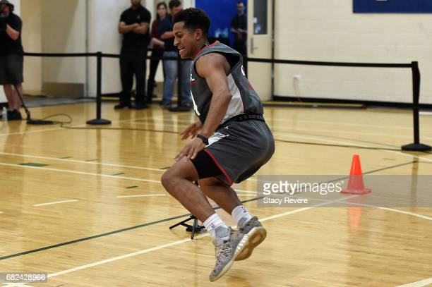 Frank Jackson participates in drills during Day Two of the NBA Draft Combine at Quest MultiSport Complex on May 12 2017 in Chicago Illinois NOTE TO...