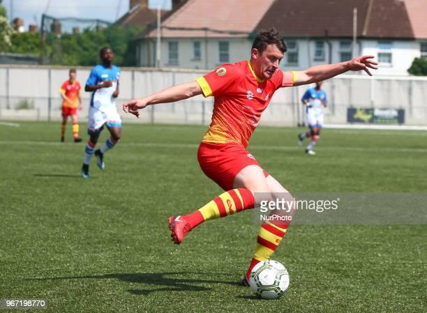 Frank Jones of Ellan Vannin during Conifa Paddy Power World Football Cup 2018 Group A match between Barawa against Ellan Vannin at Coles Park Stadium...