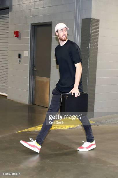 Frank Kaminsky of the Charlotte Hornets arrives to the arena before the game against the Orlando Magic on April 10 2019 at Spectrum Center in...
