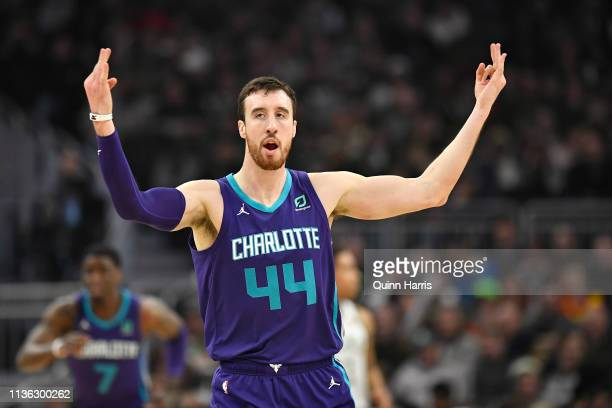 Frank Kaminsky of the Charlotte Hornets reacts after making a three point basket against Milwaukee Bucks at Fiserv Forum on March 09 2019 in...