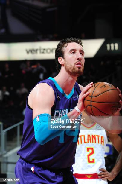 Frank Kaminsky of the Charlotte Hornets shoots a free throw against the Atlanta Hawks on March 15 2018 at Philips Arena in Atlanta Georgia NOTE TO...