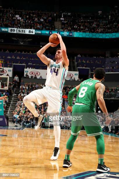 Frank Kaminsky of the Charlotte Hornets shoots the ball during the game against the Boston Celtics on December 27 2017 at Spectrum Center in...