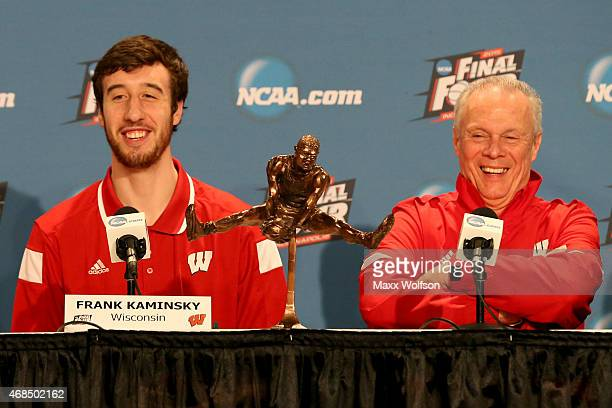 Frank Kaminsky of the Wisconsin Badgers and his head coach Bo Ryan address the media after Kaminsky wins the Oscar Robertson National Player of the...