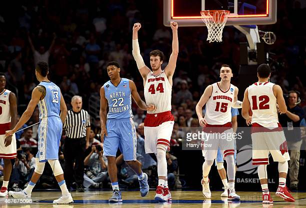 Frank Kaminsky of the Wisconsin Badgers celebrates after the Badgers 7972 victory against the North Carolina Tar Heels during the West Regional...