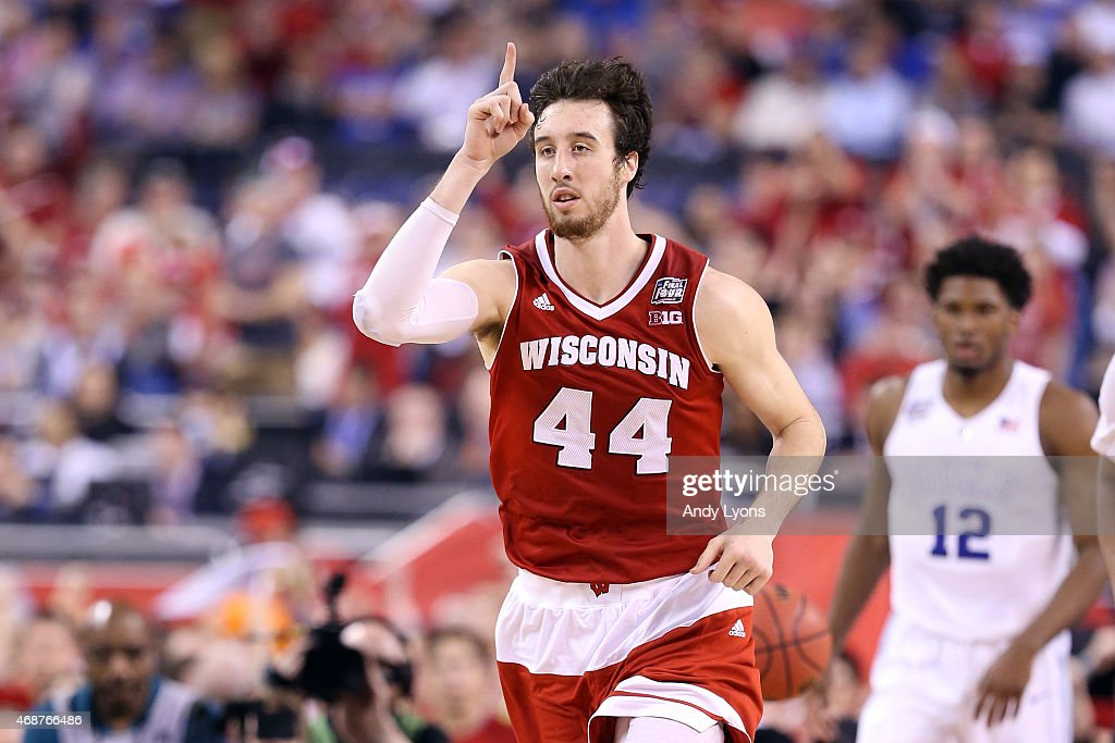 Frank Kaminsky #44 of the Wisconsin Badgers reacts after a play in the second half against the Duke Blue Devils during the NCAA Men's Final Four National Championship at Lucas Oil Stadium on April 6, 2015 in Indianapolis, Indiana.