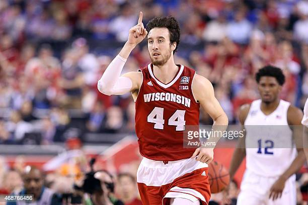 Frank Kaminsky of the Wisconsin Badgers reacts after a play in the second half against the Duke Blue Devils during the NCAA Men's Final Four National...