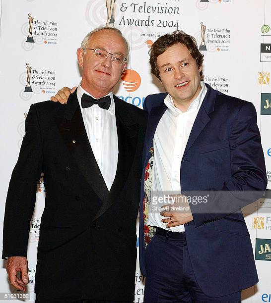 Frank Kelly and Ardal O'Hanlon attend the Irish Film and Television Awards at the Burlington Hotel on October 30 2004 in Dublin Ireland