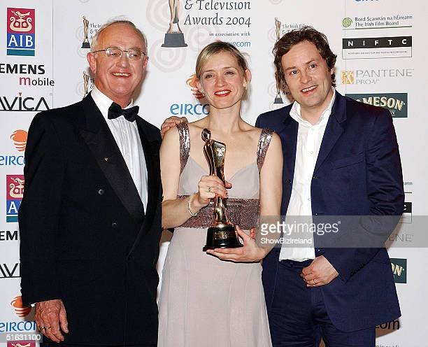 Frank Kelly AnneMarie Duff and Ardal O'Hanlon pose at the Irish Film and Television Awards at the Burlington Hotel on October 30 2004 in Dublin...